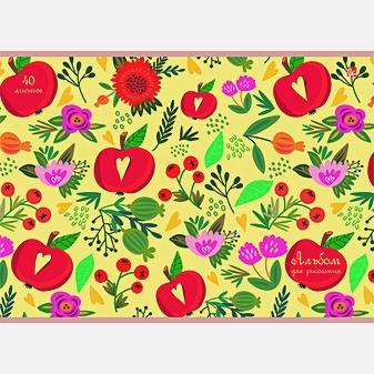 Цветы и яблоки (орнамент)