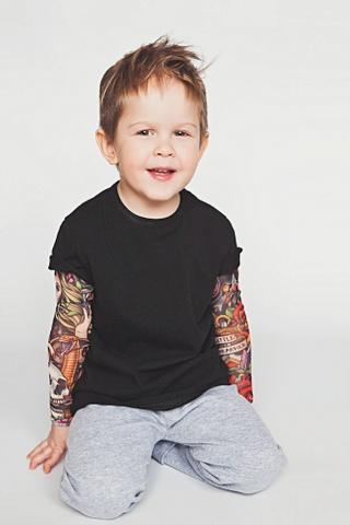 Футболка с тату-рукавами LTbrand, черная, рост 92