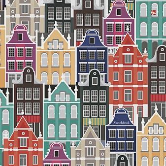 Разноцветные домики (графика)