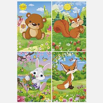 Лесные зверята (Медвежонок, Лисичка, Зайчик, Белочка)