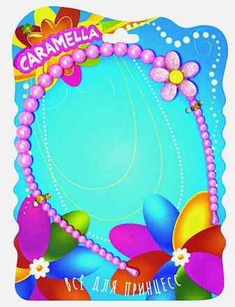 Ободок д/волос из бусинок с цветочком, нежно-розовый