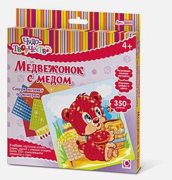 Чудо-Творчество. Мозаика самокл. Медвежонок с медом  арт. 00611
