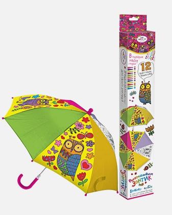 Чудо-Творчество. Зонтик для раскрашивания. Совы. с самокл. украш. арт. 02326