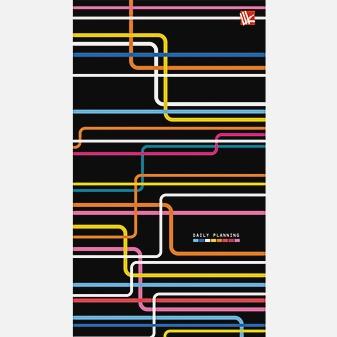 Офисный стиль. Разноцветные линии (узкий 90x165 мм) 128л.