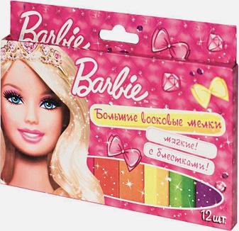 "BARBIE - Мелки воск.""БАРБИ""с блест,12шт,14mm*10cm ТМ Barbie обложка книги"