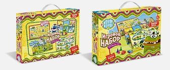 Куми-Куми.Игровой набор. 4 настольные игры + пазл в подарок, коробка с ручкой.01559