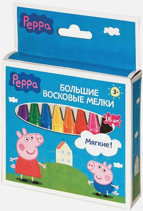 "Peppa Pig - Мелки восковые ""ПЕППА"", 16шт, 14mm*10cm ТМ PEPPA обложка книги"