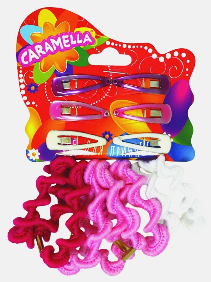 Набор аксессуаров для волос: 8 резинок, 6 заколочек, розовые/белые