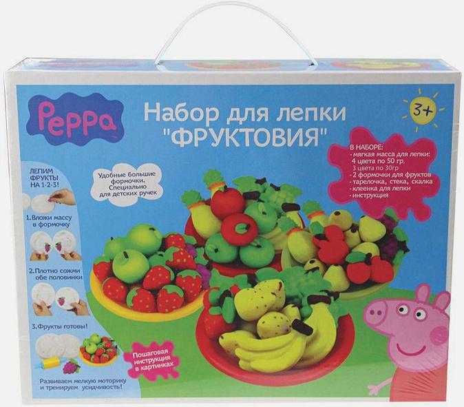 "Peppa Pig - Н-р д/лепки""ФРУКТОВИЯ"",7цв (290гр),форм.,т.м.Peppa обложка книги"