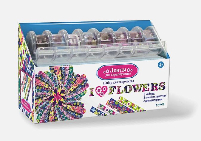 Скрапбукинг. Ленты. Я люблю цветы. 8 шт (1. 2см*2. 8 м) в диспенсере арт. 02048