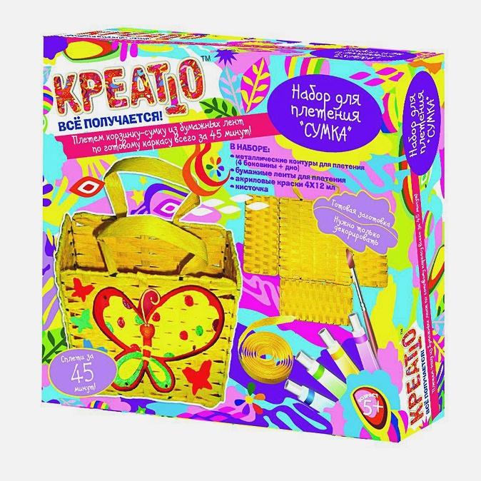 """Набор для плетения """"СУМКА"""" из бумажных лент + 4 краски"""