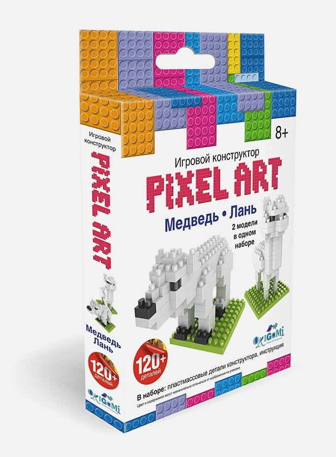 нн - Конструктор 3D-пиксели 2 в 1. Медведь/Лань  арт.02308 обложка книги