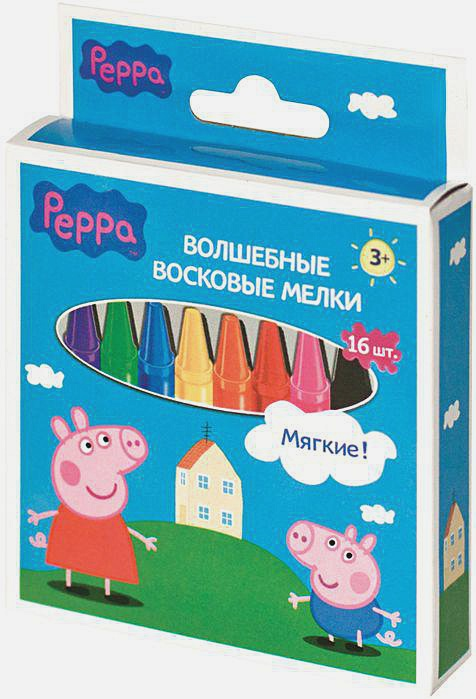 "Peppa Pig - Мелки восковые ""ПЕППА"", 16шт,11mm*9cm ТМ PEPPA PIG обложка книги"