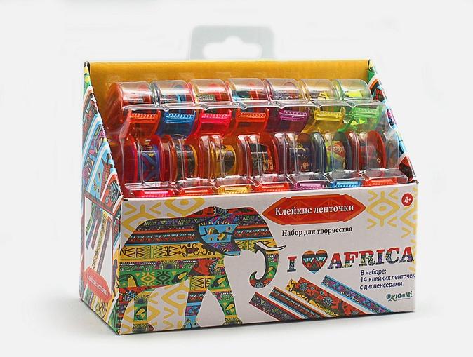 Скрапбукинг. Ленты. Я люблю Африку. Большой набор. 14 шт (1. 2см*2. 8 м) в диспенсере арт. 02063