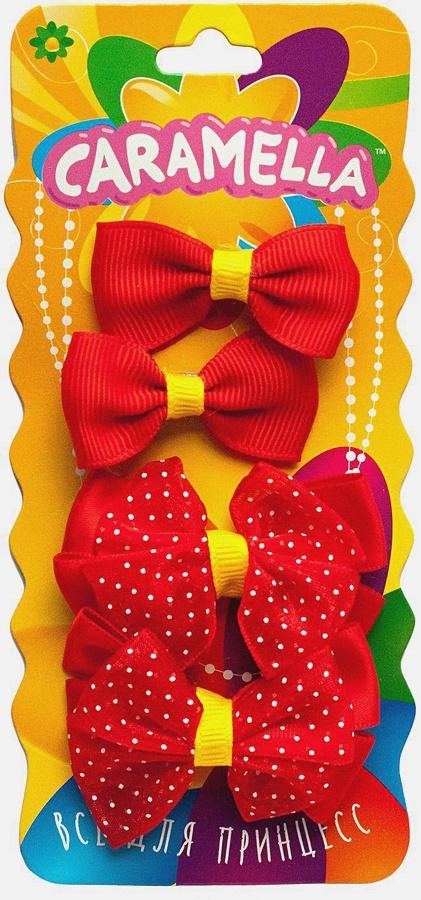 Набор бантиков-клипов для волос, 4шт, красн/желт.