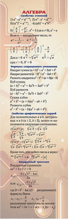 Закладка. Алгебра