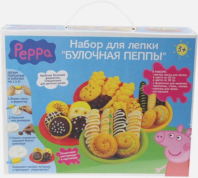 "Peppa Pig - Н-р д/лепки""БУЛОЧНАЯ ПЕППЫ"" 6цв(260гр),форм.т.м.Pe обложка книги"