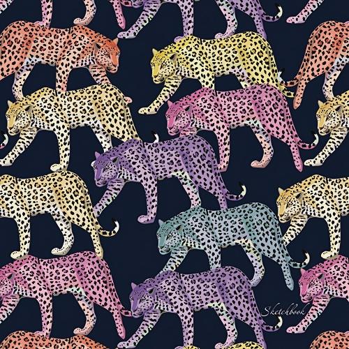 Акварельные леопарды (квадратный, 80л. Блок без линовки)