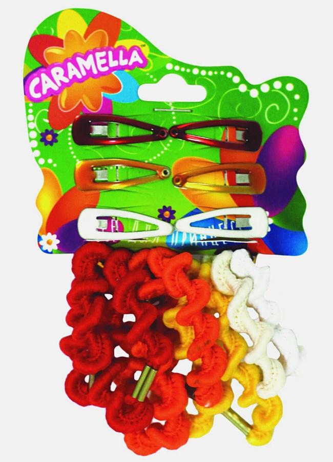 Набор аксессуаров для волос: 8 резинок, 6 заколочек, оранжевые/желтые