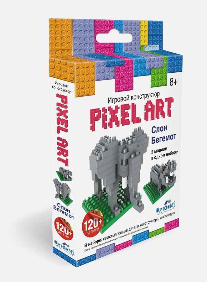 Конструктор 3D-пиксели 2 в 1. Слон/Бегемот  арт.02301 нн