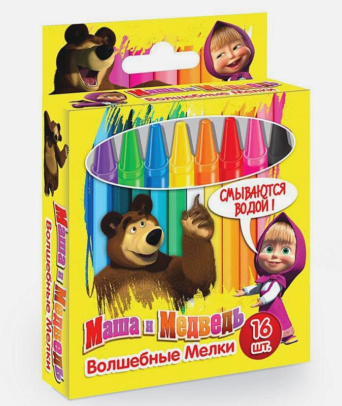 """Маша и Медведь - Мелки моющиеся """"Маша и медведь"""" 16 штук, 11*96 мм обложка книги"""