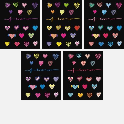 Яркие сердечки (I love you) 48л., 5 видов