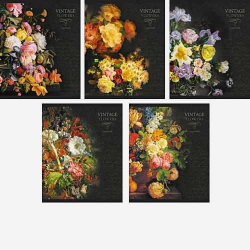 Букеты на черном (Vintage flowers) 48л., 5 видов