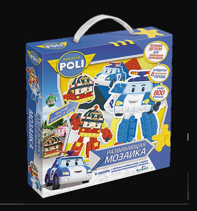 Мозаика-набор д/малышей «Робокар Поли». Фигурная 3D аппликация (4 фигурки, 6 предметов, скотч) 800 + элементов.арт.02422