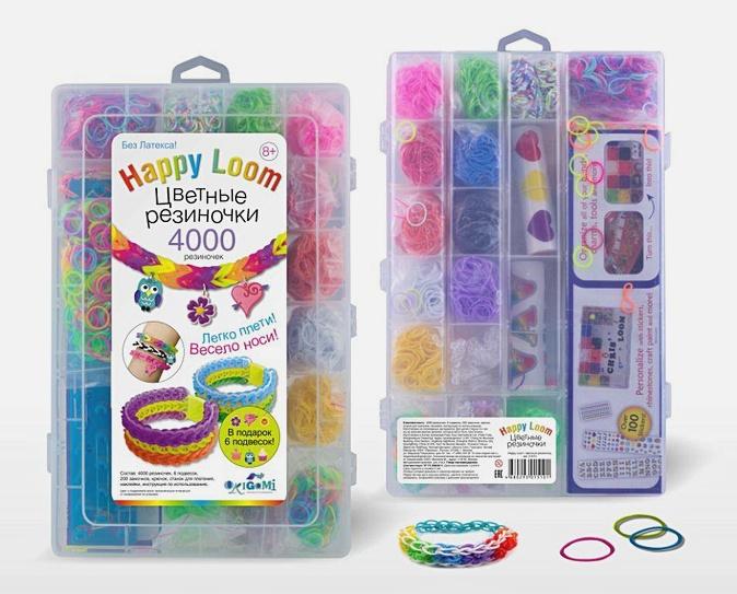 Стильные штучки. Цветные резиночки. Набор в пласт. коробке: 4200 рез. , станок, крючок, зам-ки, подвески в чемодане арт. 01510