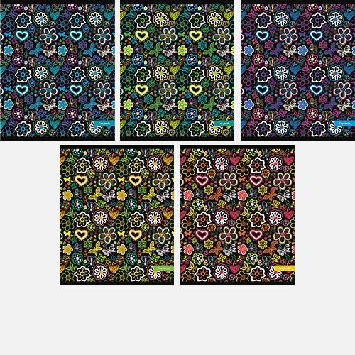 Цветы и сердечки (орнамент) 96л.,5 видов